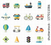 transportation icons | Shutterstock .eps vector #157011086