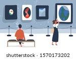 art museum visitors flat vector ...   Shutterstock .eps vector #1570173202