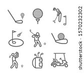 golf line icons. player. vector ...