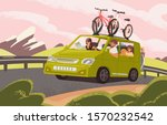 family road trip on camper car... | Shutterstock .eps vector #1570232542
