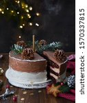 Decorated Christmas Cake On A...