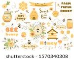 bees set cute honey clipart... | Shutterstock .eps vector #1570340308