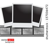 blank film strip on a white... | Shutterstock .eps vector #157036472