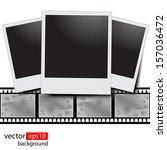 blank film strip on a white... | Shutterstock .eps vector #157036472