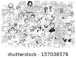 black and white drawing of busy ... | Shutterstock . vector #157038578