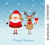 santa claus with a bag of deer... | Shutterstock .eps vector #157040585