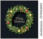christmas wreath decorated with ... | Shutterstock .eps vector #1570426855
