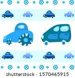 pattern of blue cars for boys. | Shutterstock .eps vector #1570465915