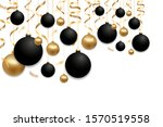 christmas black and gold balls...   Shutterstock .eps vector #1570519558