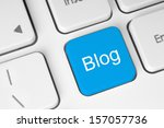 blue blog button on keyboard... | Shutterstock . vector #157057736