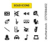 melody icons set with bell ...