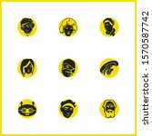 facial icons set with alien ...