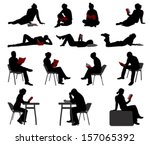 silhouettes of people reading... | Shutterstock .eps vector #157065392