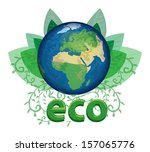 planet earth with floral paters ... | Shutterstock .eps vector #157065776