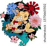 japanese koi fish with peach... | Shutterstock .eps vector #1570665502