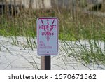 Hanna Park Beach Keep Off Dunes signage for Sea Oats protection Jacksonville, Florida.