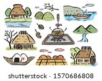 ancient japanese countryside... | Shutterstock .eps vector #1570686808