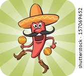 anthropomorphic,background,booted,boots,carnival,cartoon,cheerful,chili,dance,drawing,emotion,festival,food,green,happy