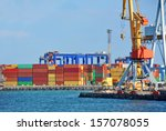 port cargo crane over blue sky... | Shutterstock . vector #157078055
