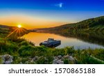 Sunset Rural River Boat View