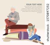 reading people or novel fans.... | Shutterstock .eps vector #1570897252