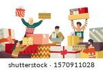 people and new year gifts flat... | Shutterstock .eps vector #1570911028