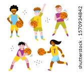 basketball children vector set. ... | Shutterstock .eps vector #1570934842