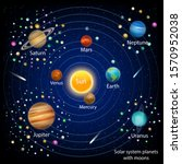 solar system planets with moons ... | Shutterstock .eps vector #1570952038