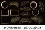 gold frame and golden tropical... | Shutterstock .eps vector #1570960405