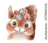 Cute Hand Drawn Squirrel In...