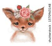 Cute Hand Drawn Fox In Floral...