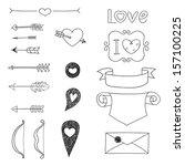 set wedding and valentine's day ... | Shutterstock .eps vector #157100225