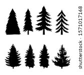 set of silhouettes of pine tree ... | Shutterstock .eps vector #1571017168