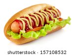 Stock photo hot dog with lettuce and tomato on white background 157108532