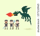 Pixel Art Warriors And Flying...