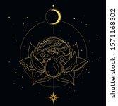 planet earth inside of lotus... | Shutterstock .eps vector #1571168302
