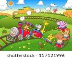 Cute Animals  Train Eps10 File...