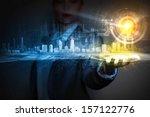 businessperson holding media... | Shutterstock . vector #157122776