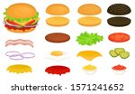 set of ingredients for a burger.... | Shutterstock .eps vector #1571241652
