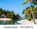beautiful beach on bora bora... | Shutterstock . vector #157129472