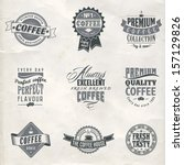 set of coffee shop sketches and ... | Shutterstock .eps vector #157129826