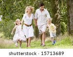 family running on path holding... | Shutterstock . vector #15713689
