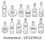 Alcohol Drink Bottles Sketch...