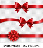 silk red bow and transparent... | Shutterstock .eps vector #1571433898