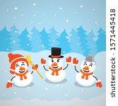 three cute funny happy snowman... | Shutterstock .eps vector #1571445418