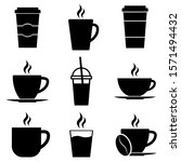 Coffee Set Icons  Logo Isolated ...