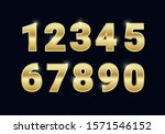 golden shiny metal numbers set  ... | Shutterstock .eps vector #1571546152