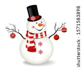 christmas snowman with top hat... | Shutterstock .eps vector #1571583898