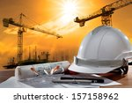 safety helmet and architect... | Shutterstock . vector #157158962