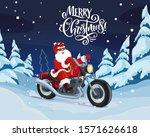 santa riding motorcycle vector... | Shutterstock .eps vector #1571626618